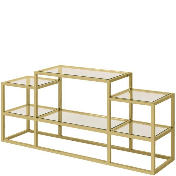 Table en acier doré et verre