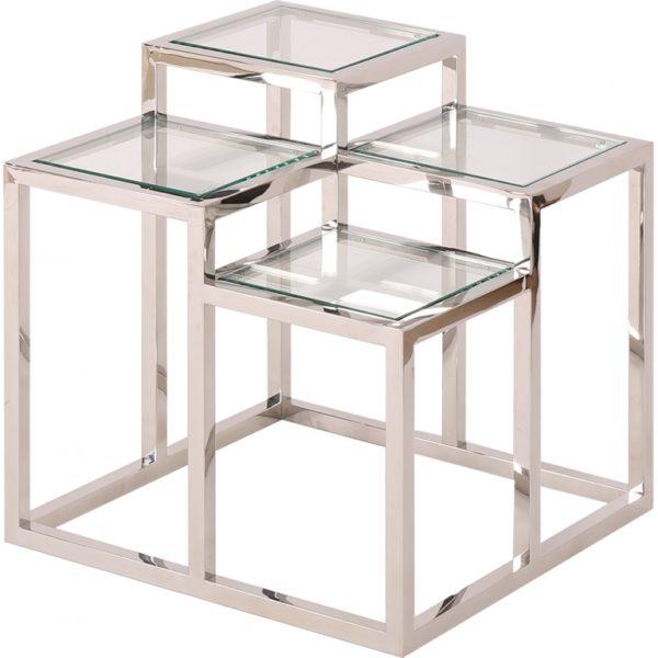 Table en acier chromé et verre