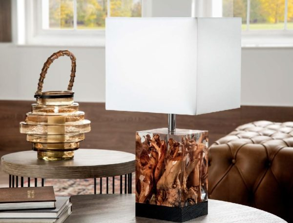 """Lampe de table verticale en  """"bois vitrifié"""""""