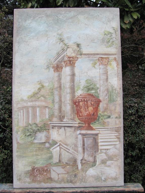 Ruines romaines avec vases
