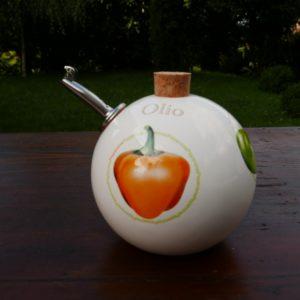 Huilier sphérique, décor poivrons