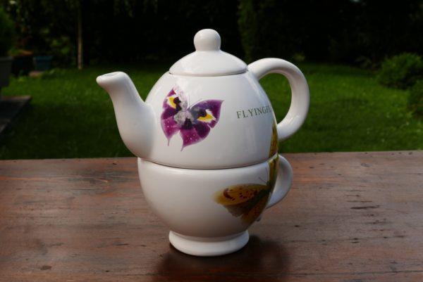 """Théière """"LUDA"""" et tasse combinée."""