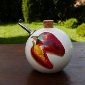 Huilier sphérique, décor piments